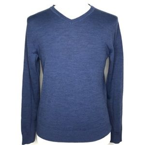 Apt. 9 Blue V-Neck Merino Wool Sweater A090234